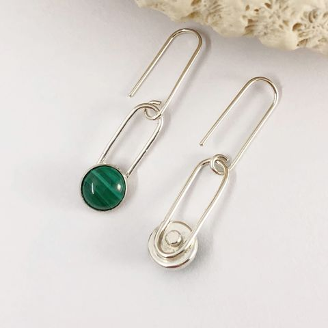 Minimalist Malachite Dangle Earrings, Sterling Silver - product images  of