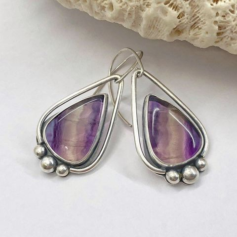 Striped,Purple,Fluorite,Earrings,Sterling,Silver,Open,Back,sterling silver Fluorite earrings, purple striped earrings, purple silversmith dangles
