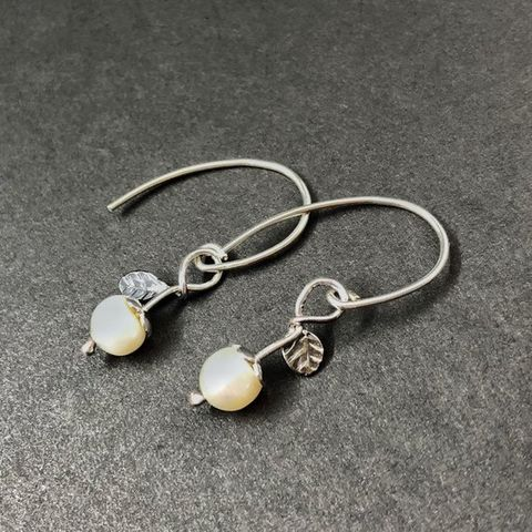 Hand,Fabricated,Freshwater,Pearl,Dangles,with,Leaf,sterling silver freshwater pearl earrings, hand fabricated sterling dangles, hand forged silversmith earrings