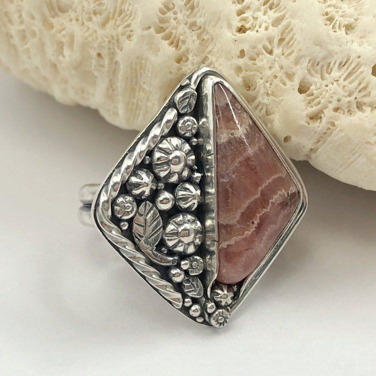 Rhodochrosite Ring, Pink Flower Ring, Sterling Silver Size 8 1/2 - product images  of