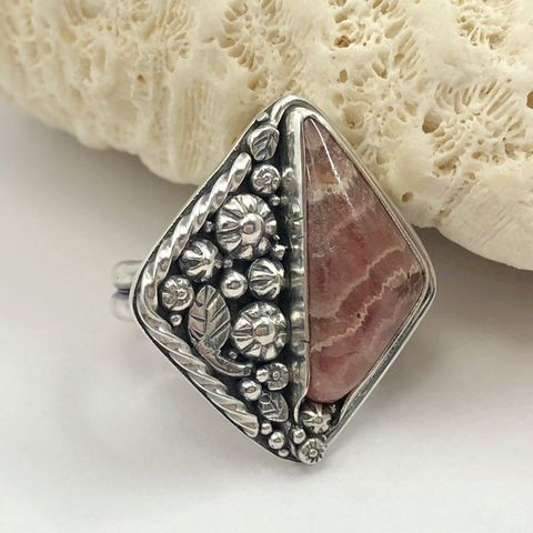 Rhodochrosite,Ring,,Pink,Flower,Sterling,Silver,Size,8,1/2,sterling silver rhodochrosite ring, sterling silver pink flower ring, artisan hand fabricated jewelry