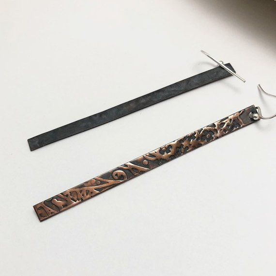 Very Long and Narrow Patterned Copper Dangle Earrings - product images  of