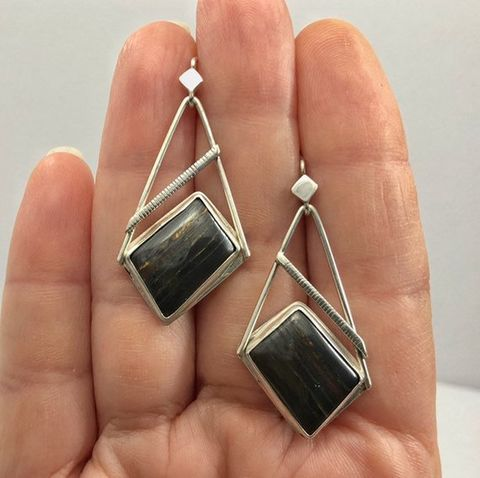 Tiger Iron Earrings Contemporary Sterling Silver Brown Stone Dangles - product images  of
