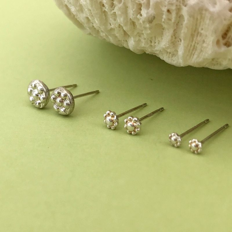 Set of Three Sterling Silver Flower Studs Small to Medium Sizes - product images  of