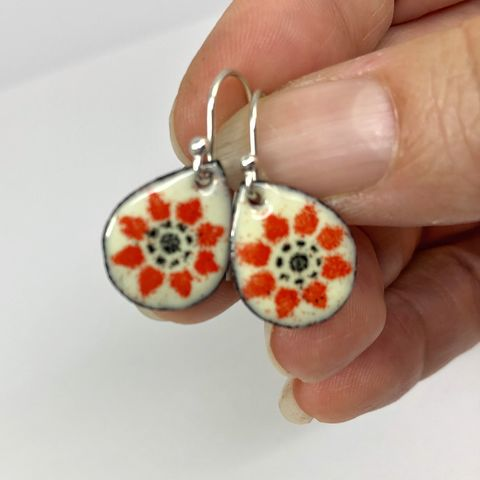 Orange,Flower,Enamel,Teardrop,Earrings,contemporary flower earrings, orange flower earrings, enameled flower earrings