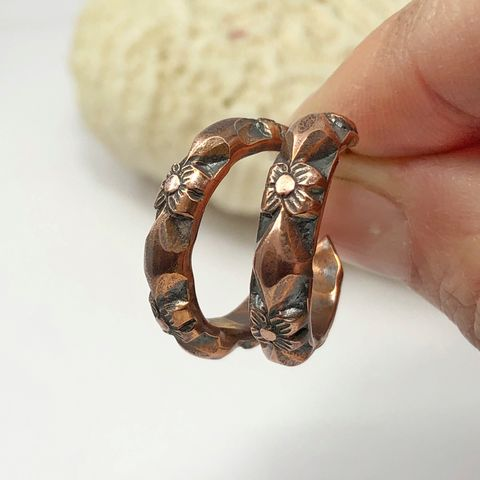 Patterned,Copper,Open,Hoops,with,Flower,and,Diamond,Pattern,copper open hoops, flower patterned hoops, heavy copper hoops, boho copper hoops