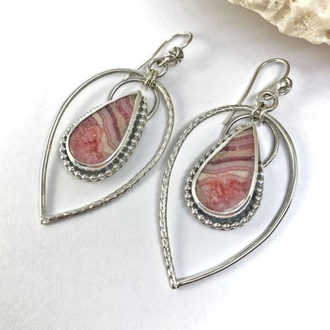 Rhodochrosite,and,Sterling,Silver,Statement,Earrings,rhodochrosite and sterling earrings, pink sterling silver statement earrings, silversmith forged stone earrings