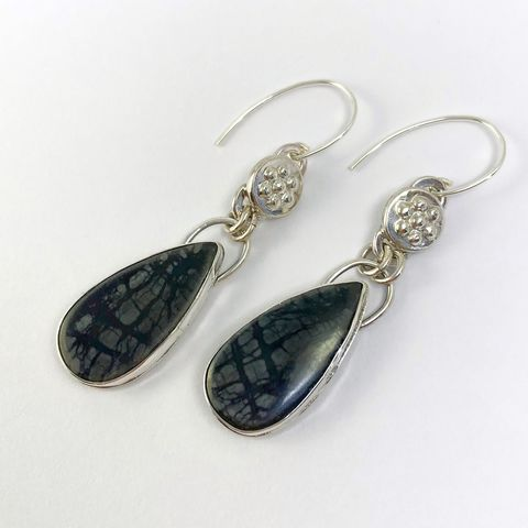 Picassso,Jasper,and,Sterling,Silver,Dangle,Earrings,with,Leaf,Accents,picasso jasper earrings, black stone sterling earrings, tree branch earrings, hand fabricated leaf earrings