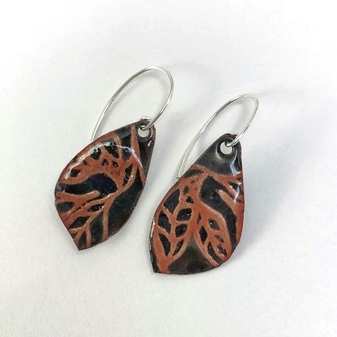Midnight,Copper,Tree,Earrings,,Kiln,Fired,Enamel,with,Sterling,Silver,Ear,Wires,black and copper earrings, kiln fired enamel earrings, tree pattern earrings, midnight moon branch earrings