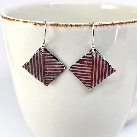 Red,and,White,Peppermint,Stripe,Enamel,Earrings,with,Sterling,Ear,Wires,red and white square earrings, peppermint stripe earrings, kiln fired copper enamel dangles