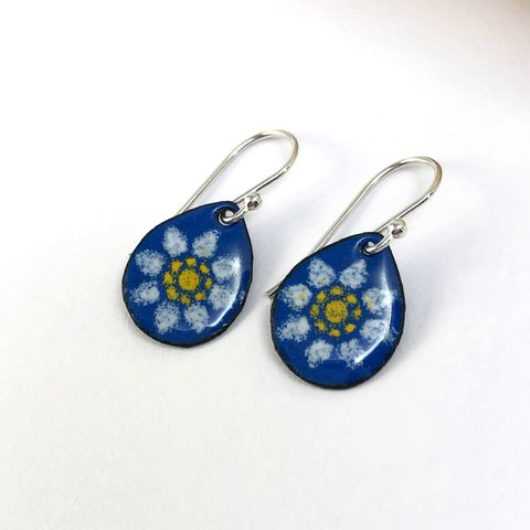 White,Flower,on,Blue,Copper,Enamel,Earrings,with,Sterling,Ear,Wires,white flower on blue earrings, copper enamel dangles, sterling silver ear Wires