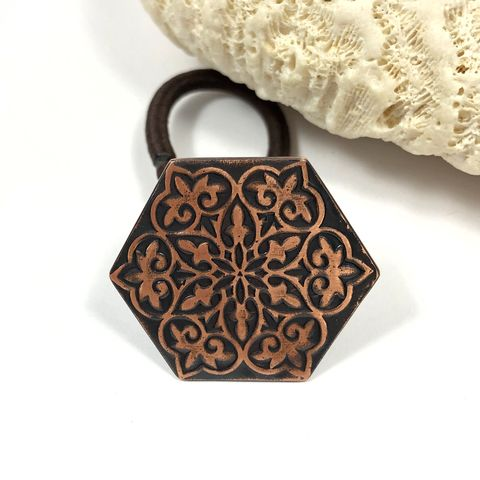 Bright,and,Black,Patina,Hexagonal,Copper,Mandala,Ponytail,Holder,bohemian mandala hair accessory, black and copper ponytail holder, hexagon shape hair tie