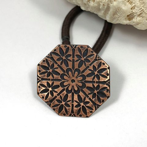 Bright,and,Black,Octagonal,Copper,Ponytail,Holder,Floral,Mandala,Design,mandala ponytail holder, solid copper hair jewelry, boho copper hair tie