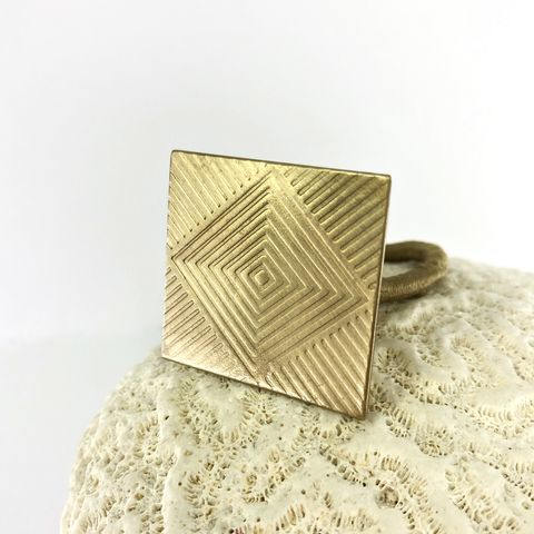 Solid,Brass,Square,Ponytail,Holder,with,Bright,Finish,solid brass hair accessory, brass floral ponytail holder, boho brass hair tie, square hair tie