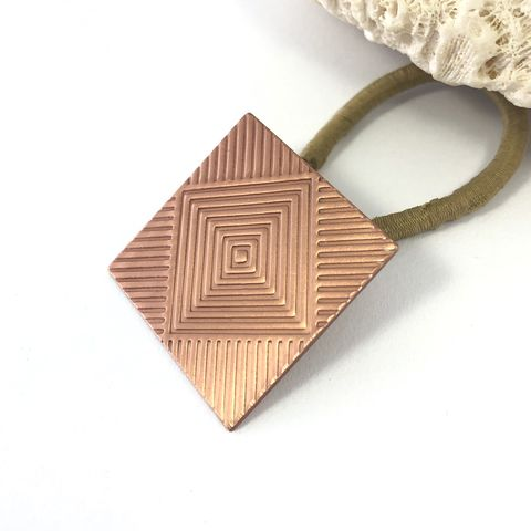 Solid,Copper,Square,Ponytail,Holder,with,Bright,Finish,solid copper ponnytail holder, square metal hair tie, replaceable elastic hair tie, boho geometric hair accessory