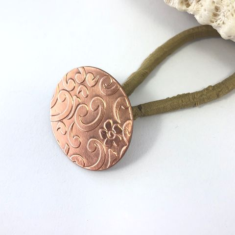 Floral,Swirl,Copper,Ponytail,Holder,with,Bright,Finish,solid copper ponnytail holder, floral pattern metal hair tie, replaceable elastic hair tie,