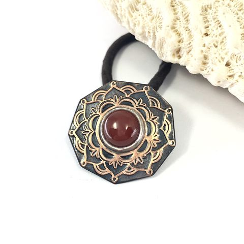 Carnelian,Ponytail,Holder,,Copper,Mandala,Bright,and,Black,Hair,Tie,mandala ponytail holder, solid copper hair jewelry, boho copper hair tie, carnelian pony tail holder