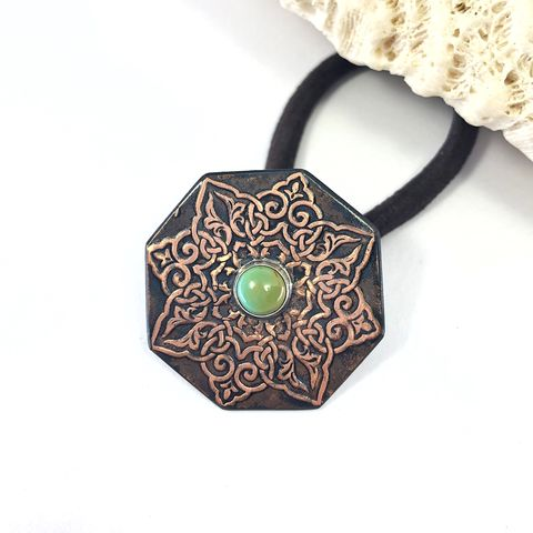 Turquoise,Copper,Mandala,Ponytail,Holder,,Bright,and,Black,Patina,octagonal ponytail holder, turquoise copper ponytail holder, mandala hair accessory, boho copper hair tie