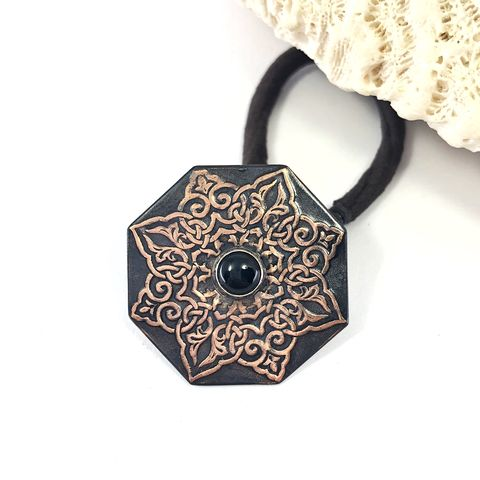 Onyx,Copper,Mandala,Ponytail,Holder,,Bright,and,Black,Patina,boho copper ponytail holder, black mandala hair tie, metalsmith hair accessory