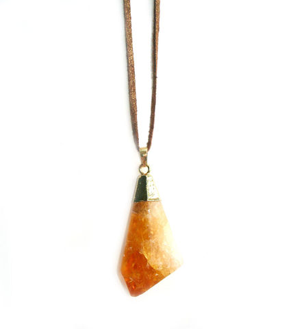 Citrine,quartz,crystal,,,stalactite,pendant,necklace.