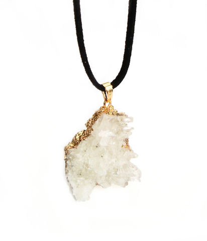 Crystal quartz druzy slice pendant necklace. - product images  of