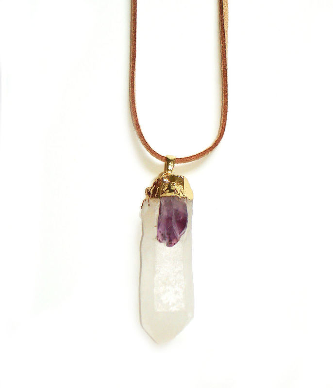 Large crystal quartz point pendant with amethyst quartz - product images  of
