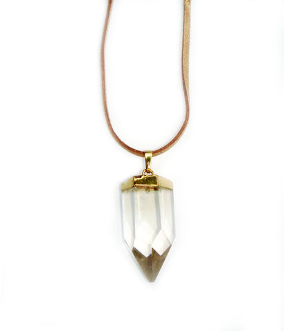 Clear polished crystal quartz point pendant. - product images  of