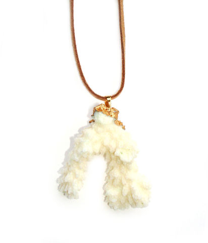 Beautiful,natural,white,coral,pendant,necklace.