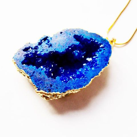 Dark,blue,druzy,geode,quartz,stone,pendant,necklace,Jewellery, Crystal, Gold, Blue,  Druzy Geode Quartz, Healing Crystal.