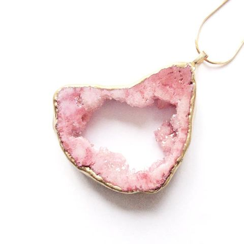 Pale,rose,pink,druzy,geode,quartz,stone,pendant,necklace,Jewellery, Crystal, Gold, Pink  Druzy Geode Quartz, Healing Crystal.