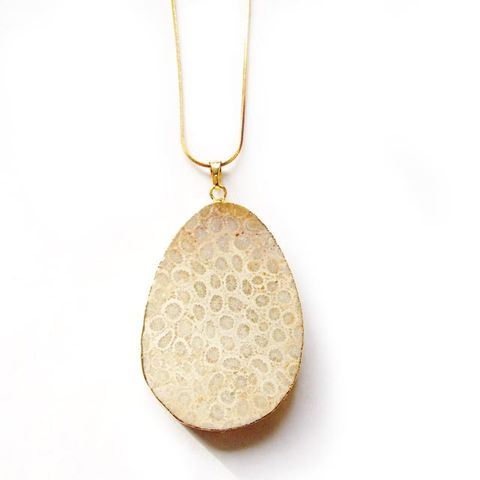 Chrysanthemum Stone Pendant Necklace. - product images  of
