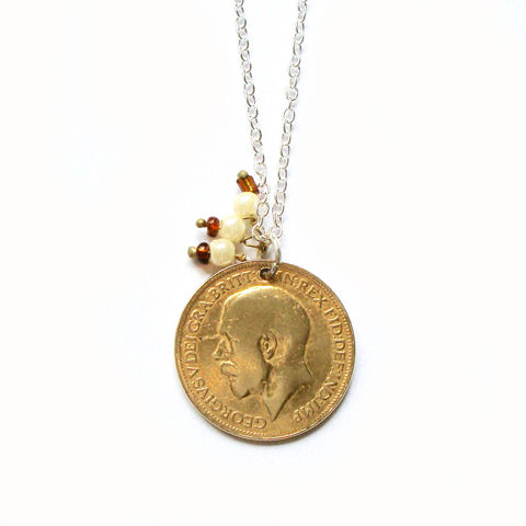 'Porteur de Fortune'  - 1922 GEORGE V GOLD FILLED FARTHING  - product images  of