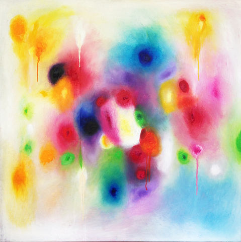 SOLD,-,Summer,Spectrum,100x100cm,Summer Spectrum, acrylics, hand painted, box canvas 100x100cm, abstract art