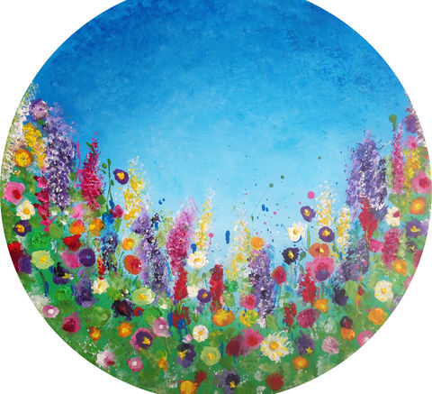 Floral,Heaven,60x60cm,round,Floral Heaven, acrylics, hand painted, box canvas 60x60cm, abstract art