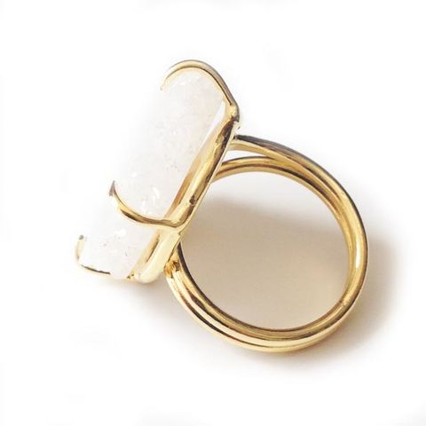 White natural 'evil eye solar quartz ring'. - product images  of