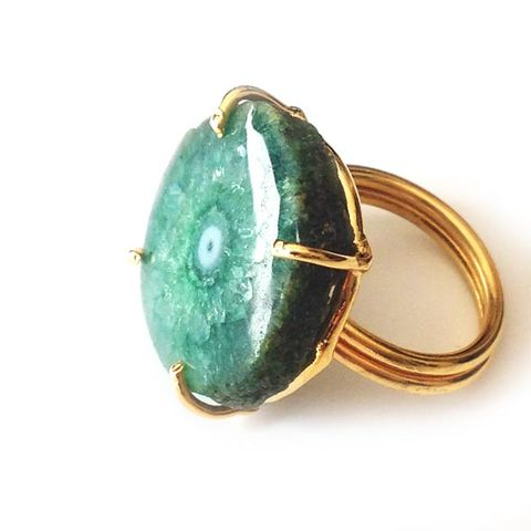 White Green 'evil eye solar quartz ring'. - product images  of