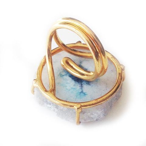 White Pale Cyan 'evil eye solar quartz ring'. - product images  of