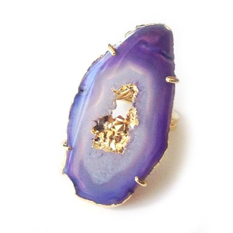 Purple,Agate,Geode,Ring.,Jewellery, Crystal, 24t Gold, Purple agate, Healing Crystal.