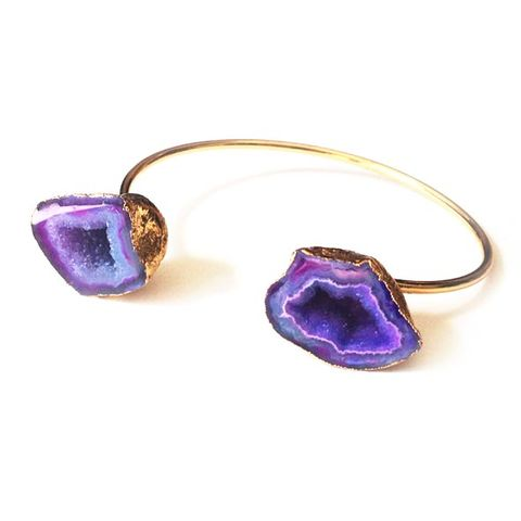 Agate,Geode,Crystal,Bangle,Collection,Jewellery, Crystal, 24t Gold, Purple agate, Healing Crystal.