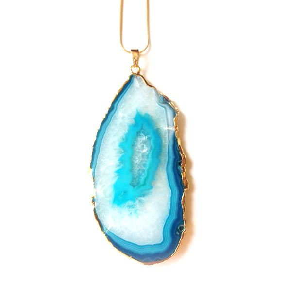 Turquoise druzy agate slice pendant necklace. - product images  of