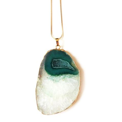 Green druzy agate slice pendant necklace. - product images  of