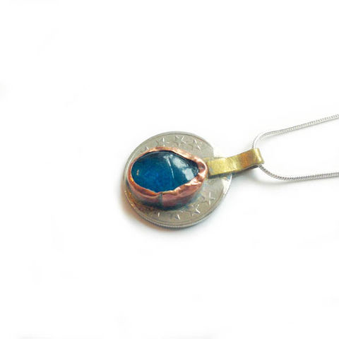 Vintage Kuchi Coin Pendant with Aqua Glass Centre - product images  of