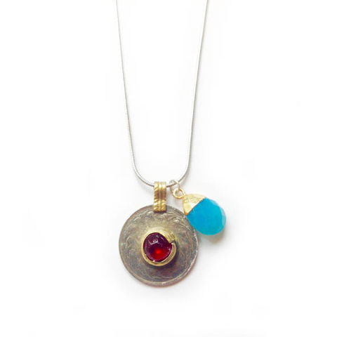 SOLD,-Vintage,Kuchi,Coin,Pendant,with,Red,Glass,Centre,Jewellery, coin, metal, brass, blue glass, cornflower blue, Chalcedony gemstone,