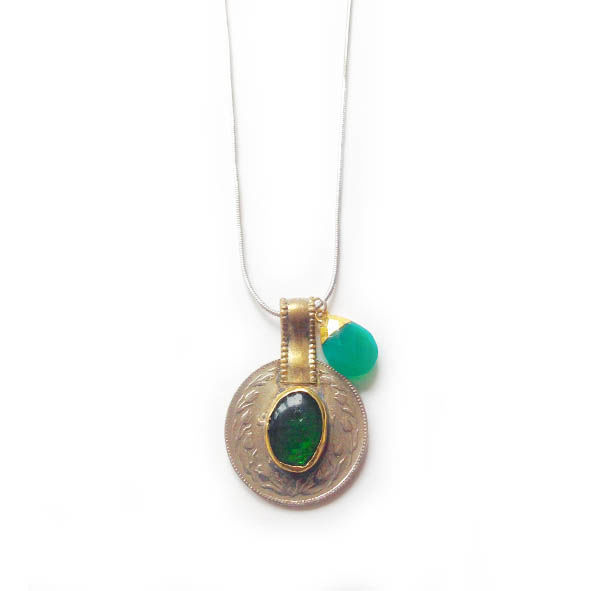 Vintage Kuchi Coin Pendant with Green Glass Centre - product images  of