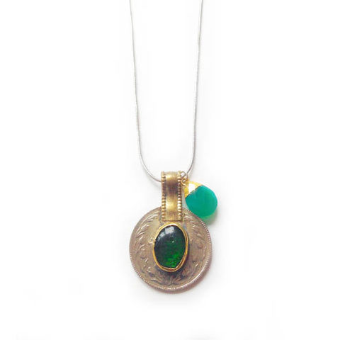 Vintage,Kuchi,Coin,Pendant,with,Green,Glass,Centre,Jewellery, coin, metal, brass, blue glass, green onyx, Chalcedony gemstone,