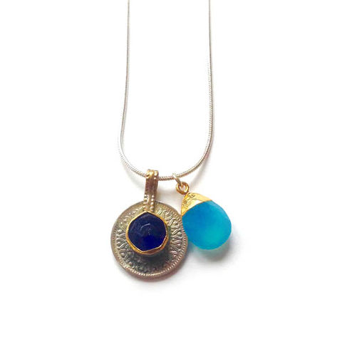Vintage,Kuchi,Coin,Pendant,with,Blue,Glass,Centre,Jewellery, coin, metal, brass, blue glass, cornflower blue, chalcedony gemstone,