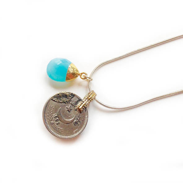 Vintage Kuchi Coin Pendant with Blue Glass Centre - product images  of