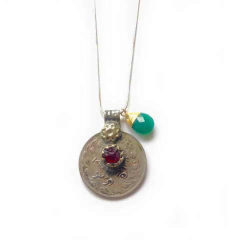 Vintage,Kuchi,Coin,Pendant,with,Red,Glass,Centre,Jewellery, coin, metal, brass, blue glass, green onyx, Chalcedony gemstone,