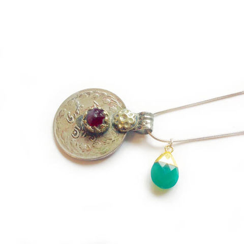 Vintage Kuchi Coin Pendant with Red Glass Centre - product images  of