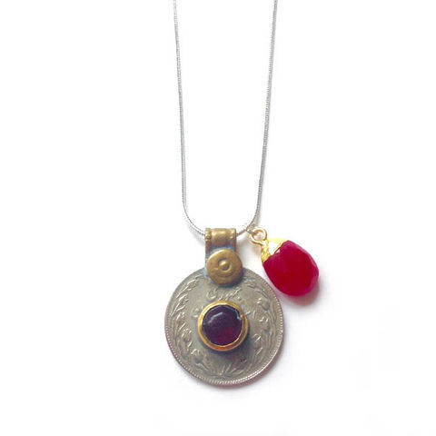 Vintage,Kuchi,Coin,Pendant,with,Red,Glass,Centre,Jewellery, coin, metal, brass, blue glass, hot pink, Chalcedony gemstone,